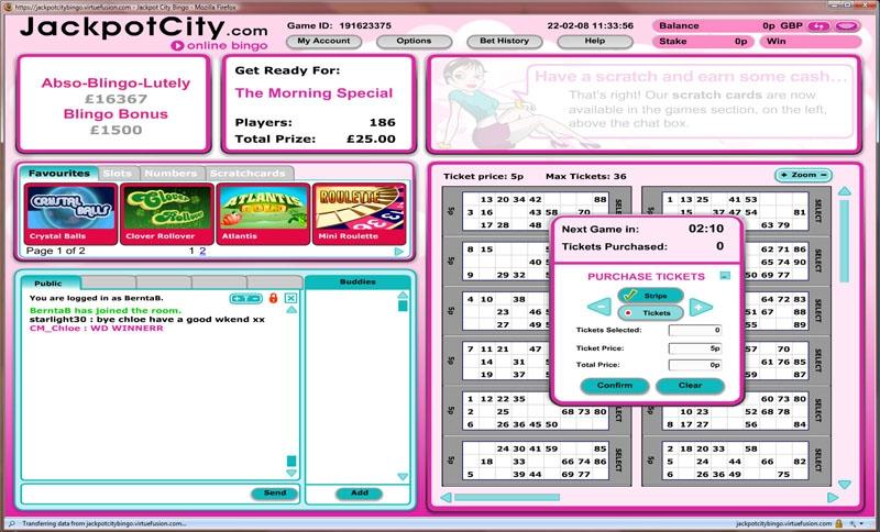 Jackpot City Bingo Lobby